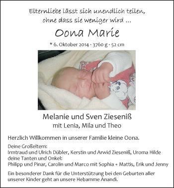 Zur Babyseite von Oona Marie